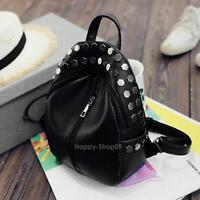 New Fashion PU Leather Ladies Mini Rivet Backpack Travel Shoulder Bag Black