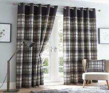 Tartan Check Eyelet Fully Lined Curtains
