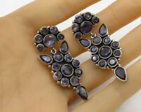 925 Sterling Silver - Vintage Amethyst Floral Accent Detail Earrings - E2699