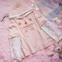 Japanese Kawaii Girl Strawberry Embroider T-shirt Bandage Sleeve Hoodies Tops