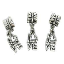 Tibetan Silver Charms Love Beads Fit European Bracelet Dangle