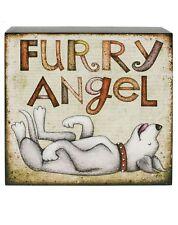 Blossom Bucket-FURRY ANGEL Wood Dog Wall Box Sign ** So Cute**