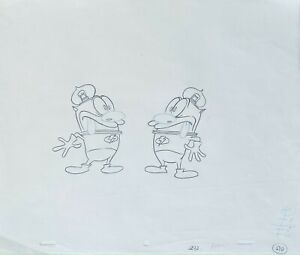 Ren & Stimpy Original 1990's Production Cel Drawing Clone