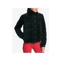 DKNY Womens Velour Puffer Coat Black Size Medium