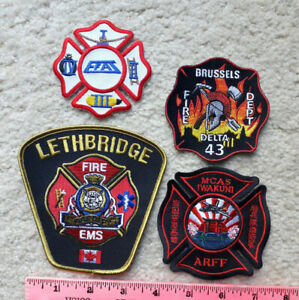Lot of 4 international fire patches from Japan, Belgium, Canada, etc.