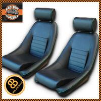 BB1 RS Classic Car Black / Green Piping Sports Bucket Seats + Universal Runners