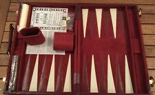 "MIT BACKGAMMON DELUXE TRAVEL BACKGAMMON RED SUEDE FAUX LEATHER READ! 15"" X 20"""