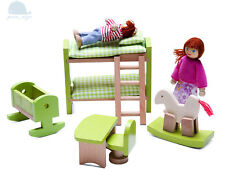 Dernières 2018 meubles en bois Maison de Poupées Baby Nursery Room Set MINIATURE NO DOLL