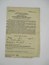 OFFICE OF PRICE ADMINISTRATION APPLICATION FOR SUPPLEMENTAL MILEAGE RATION 1940s