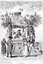 Napoli:Acquaiolo,Miseria e Nobiltà.Audot.Acciaio.Stampa Antica.Passepartout.1835