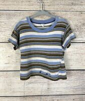 Vintage Distressed 60's Youth JC Penney's Blue Striped Border Tshirt Sz Youth 6