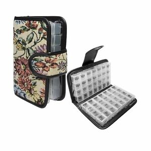 Simply Genius Floral 14 Day Daily Pill Organizer, Portable Locking Travel Cas...
