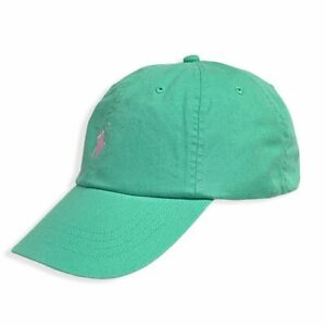 Polo Ralph Lauren Hat,  Baseball Cap, Light Green / Pink Pony, Adjustable Strap
