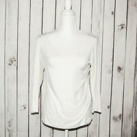 Comfy USA Women's Long Sleeve Scoop Neck Blouse White Modal Size Small