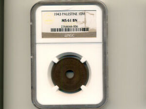 Palestine:KM-4,10 Mils,1943 * WWII - Bronze Issue * NGC MS 61 BN *