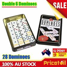 AU Dominoes Double Six 6 Family Standard Strategic Game Tin Metal Case Set of 28