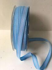 "3/8"" Grosgrain Ribbon w/ Horizontal Lines-May Arts - 333-34 Blue/White - 50 Yds."