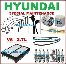 TUNE UP KITS FOR 01-06 HYUNDAI SANTA FE 2.7L: SPARK PLUG WIRE SET BELT & FILTERS