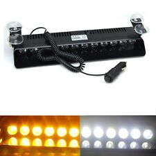 12 LED Amber White Car Dash Emergency Flashing Lights Bar Warning Strobe 12V