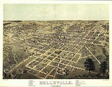 1867 Belleview St Clair County panoramic Illinois map Genealogy atlas poster 5