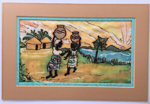 Vintage African Batik Original Art on Fabric (Women Carrying Pots)