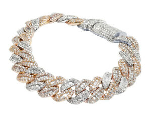 "10K TT Rose/White Gold Baguette 14.5CT Real Diamond Miami Cuban Bracelet 14MM 8"""