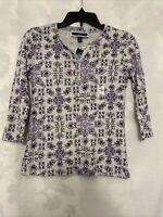 Karen Scott Gray & Purple Floral Print 3/4 Sleeve Button Neck Top Size PP Petite