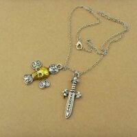 Once Upon A Time Captain Hook Sword Skeleton Pirate Cross Necklace & Gift Bag