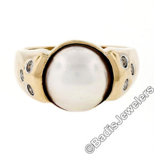 14K Yellow Gold 11mm Mabe Pearl Solitaire Ring w/ 6 Burnish Set Diamond Accents