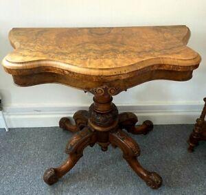 Victorian Burr Walnut Serpentine Shaped Card Table