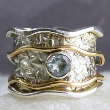 2-SPIN WAVE Embossed Spinner Size US 11.25 SILVERSARI Ring 925 Silver BLUE TOPAZ