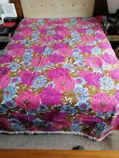 Retro M&S 70s Bedspread Throw Blue Purple Pink Flower Power  campervan AMAZING