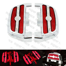 Red LED Light Passenger Footboard Cover For Harley Softail Touring Trike 1984-up