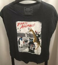 Riot Society Party Animals Gray Short Sleeve Cotton Graphic T-Shirt  S