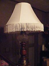 Vintage Glass, Brass & Wood Lamp