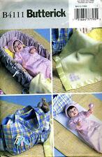 Reduced! BUTTERICK 4111 OOP Baby Bunting Hat ,Basket Liner,Diaper Bag Pattern