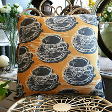 Mustard Double Sided Teacup & Saucer Cushion - Created in the UK by thetinkan