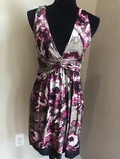Arden B Floral Deep V-Neck Sleeveless Dress Size Small Black Tan Pink