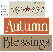 Joanie Prim STENCIL Autumn Blessings Willow Pip Berry Branch Star Country signs