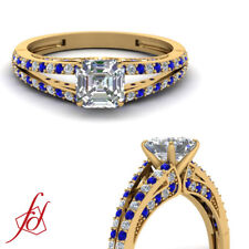 Split Band Blue Sapphire And Diamond Rings With Asscher Cut In Center 0.85 Ct