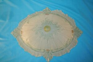 Light Shield. Decorative Cast Glass Diamond Shade With Green & Brown Highlights