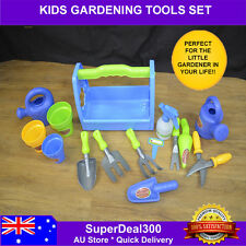 Kids Plastic Gardening Play Tool Set - 15 pieces Including Carry Tray & More!