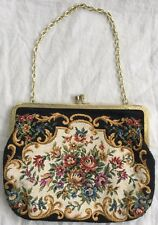 Vintage WALBORG Petit Point Tapestry Embroidered FLORAL HANDBAG CLUTCH