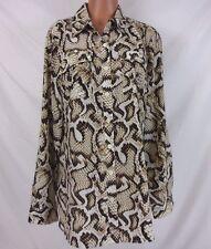 JM Collection Snake Skin Button Down Shirt Size 14  781N