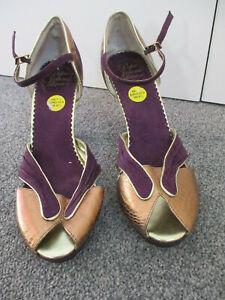 Pepe Jeans purple & gold suede/mix small platform peep toe shoes -UK7.5/EU41