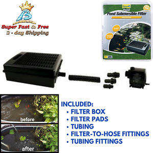 Submersible Flat Box Pond Filter For 500 200 2000 GPH Pump Fountain Declogging