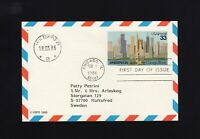 UXC23 33c Air Mail Postal Card FDC USED to SWEDEN, Cat $30.00