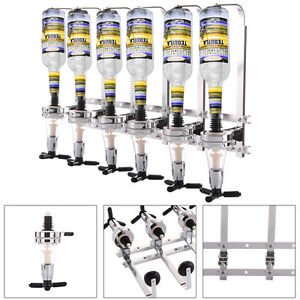 6 Bottle Stand Wall Mounted Dispenser Drinks Wine Spirits Steel Bar Optics
