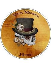 """Novelty Personalised Steampunk Skull 7.5"""" Edible Wafer Paper Cake Topper"""