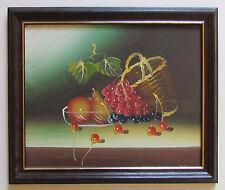 Stillleben mit Obst - echtes Ölbild im Holzrahmen handgemalt Originalbild